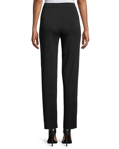 Straight-Leg Knit Pull-On Pants, Plus Size
