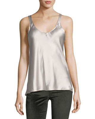Scoop-Neck Silk Satin Tank