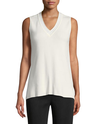 Image 1 of 2: Classic V-Neck Sleeveless Top