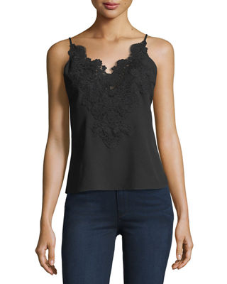 Lace-Trim Sleeveless Blouse