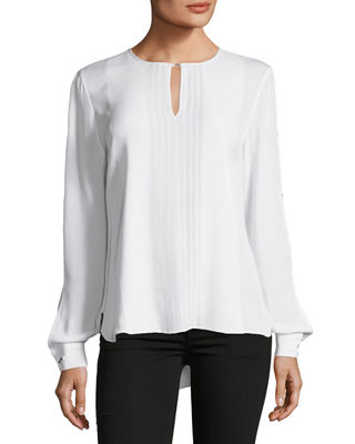 Jolene Pleated-Front Silk Blouse