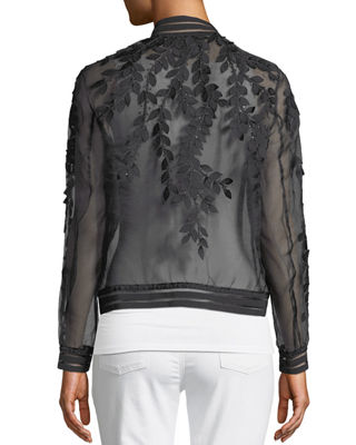 Image 2 of 4: Brandy Floral Illusion Silk Bomber Jacket