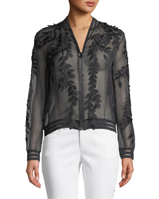 Image 3 of 4: Brandy Floral Illusion Silk Bomber Jacket