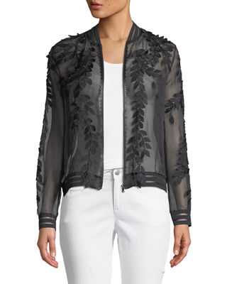 Image 1 of 4: Brandy Floral Illusion Silk Bomber Jacket