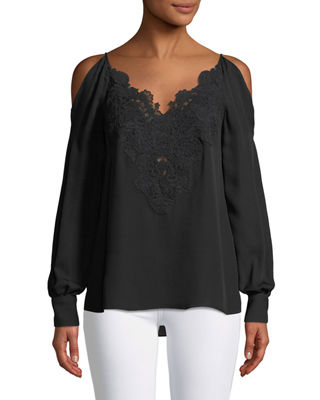 Image 1 of 2: Paisley Cold-Shoulder Silk Blouse