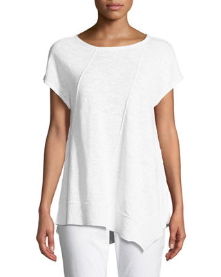 Asymmetric-Hem Linen-Cotton Top