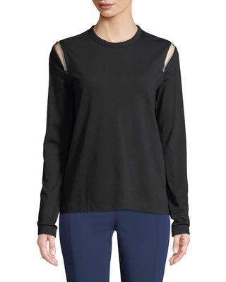 Joseph Shoulder-Zip Long-Sleeve Top