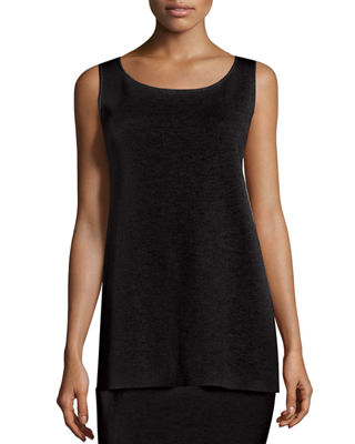 Eileen Fisher Washable Crepe Long Tank, Petite
