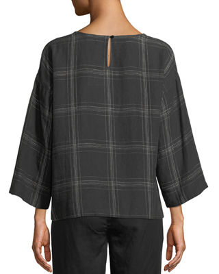 Image 2 of 3: Organic Linen Multi-Plaid Top