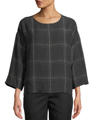 Image 1 of 3: Organic Linen Multi-Plaid Top