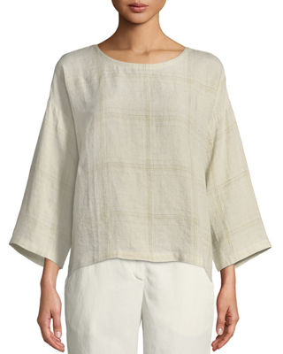 Eileen Fisher Organic Linen Multi-Plaid Top and Matching