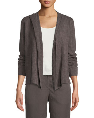 Eileen Fisher Organic Linen Waffle-Knit Hooded Cardigan