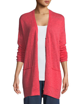 Linen-Blend Button-Front Slub Cardigan