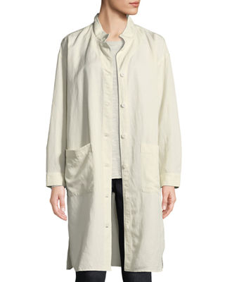 Eileen Fisher Knee-Length Stand-Collar Jacket, Plus Size