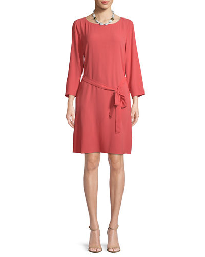 Silk Georgette Self-Tie Crepe Dress