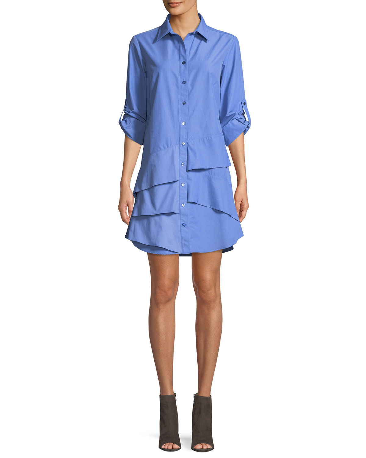 Finley JENNA EASY RUFFLE-TIERED SHIRTDRESS