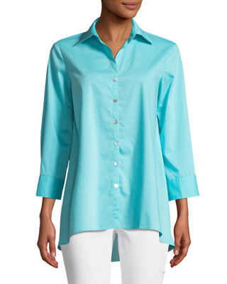 Finley Trapeze 3 4 Sleeve Swing Shirt Plus Size In Light Turquoise