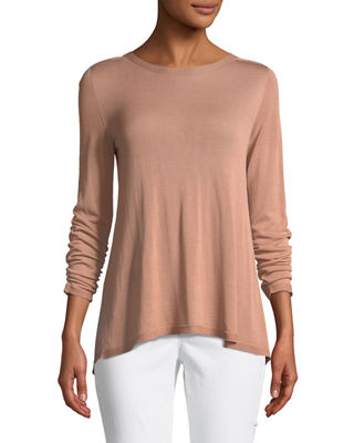 Sleek Seamless Jewel-Neck Top, Plus Size