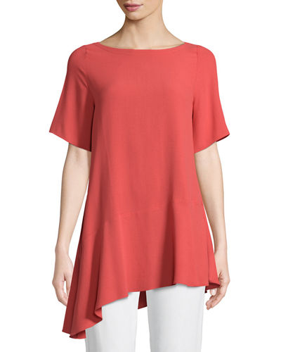Silk Georgette Asymmetric-Hem Top