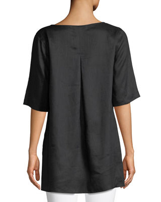 Image 2 of 2: Tissue Linen Front-Pocket Tunic , Plus Size