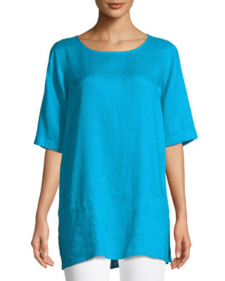 Caroline Rose Tissue Linen Front-Pocket Tunic , Plus
