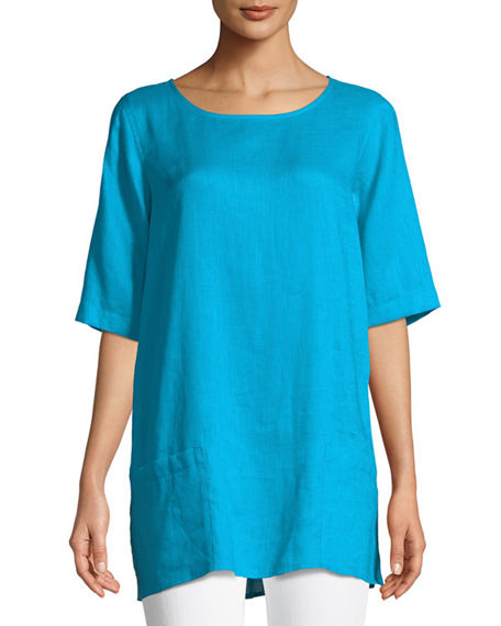 Caroline Rose Tissue Linen Front-Pocket Tunic