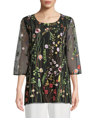 Caroline Rose Garden Walk Embroidered Layered Tunic