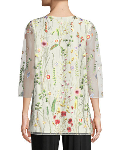 Garden Walk Embroidered Layered Tunic, Petite