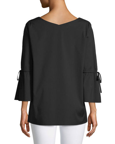 Riley Italian Stretch-Cotton Blouse