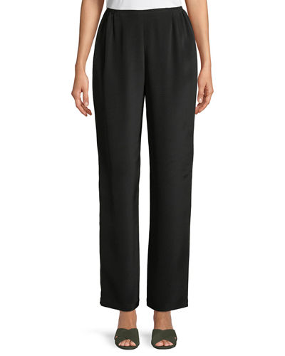 Caroline Rose Petite Silk Crepe Straight-Leg Pants