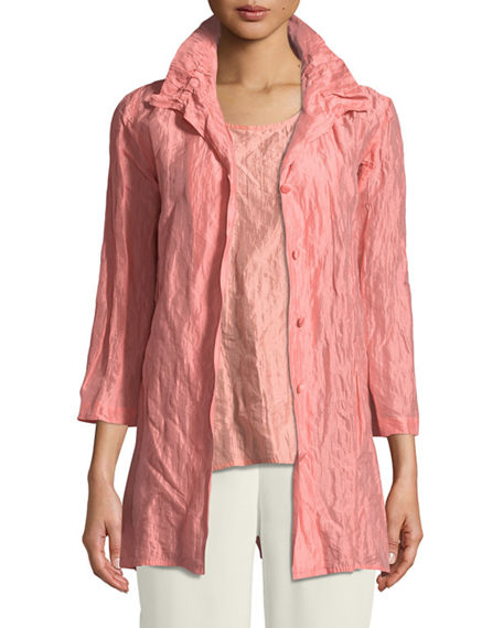 Caroline Rose Plus Size Ruched-Collar Crinkled Jacket
