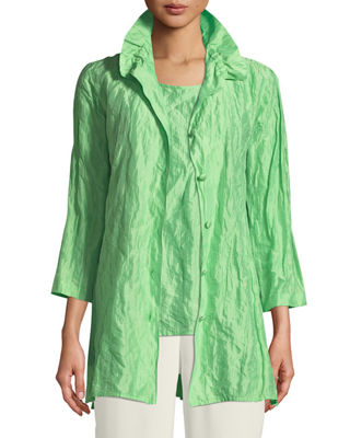 Ruched-Collar Crinkled Jacket , Plus Size