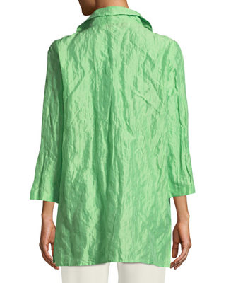 Image 2 of 3: Ruched-Collar Crinkled Jacket , Petite
