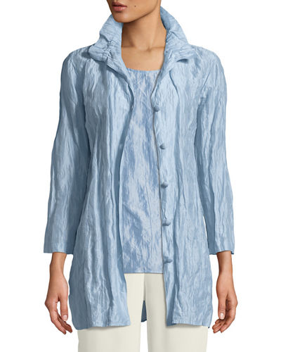 Ruched-Collar Crinkled Jacket