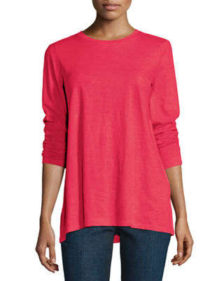 Eileen Fisher Long-Sleeve Slubby Organic Cotton Jersey Top