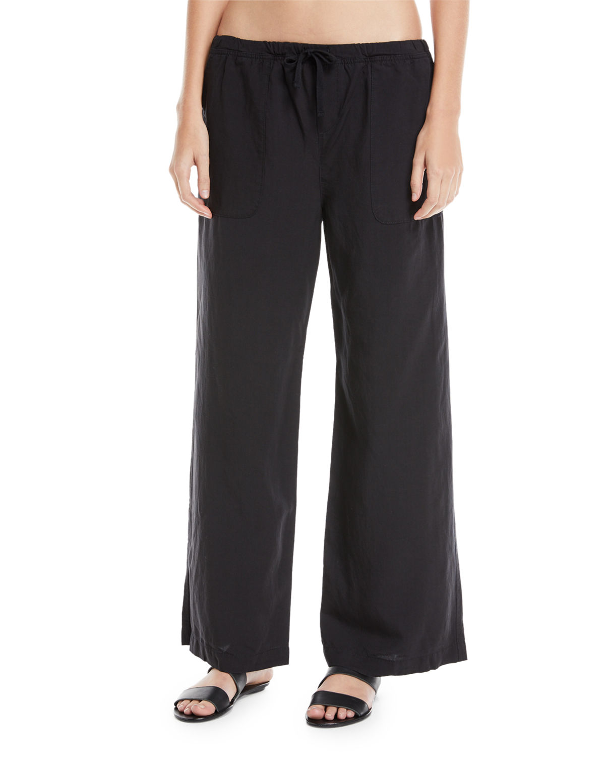 Wide-Leg Drawstring Linen Beach Pants