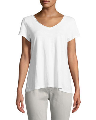 Eileen Fisher Slubby Organic Cotton V-Neck Tee, Plus