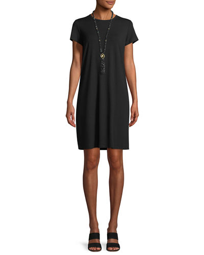 Short-Sleeve Round-Neck Jersey Dress, Petite