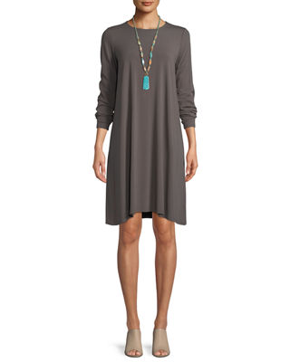 Round-Neck Long-Sleeve Jersey Dress, Petite