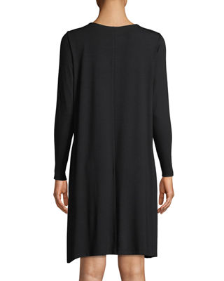 Image 2 of 3: Round-Neck Long-Sleeve Jersey Dress