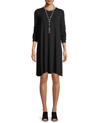 Image 1 of 3: Round-Neck Long-Sleeve Jersey Dress