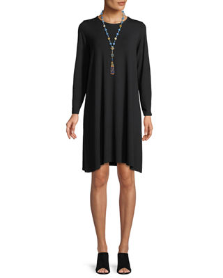 Round-Neck Long-Sleeve Jersey Dress, Plus Size