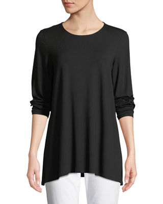Eileen Fisher Long-Sleeve Jersey Round-Neck Top, Petite
