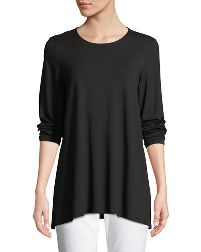 Long-Sleeve Jersey Round-Neck Top, Plus Size
