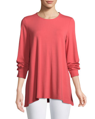 Eileen Fisher Long-Sleeve Jersey Round-Neck Top, Plus Size