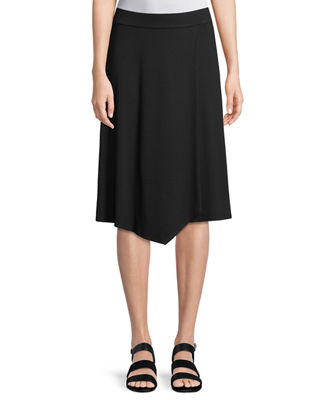 Eileen Fisher Knee-Length Jersey Faux-Wrap Skirt