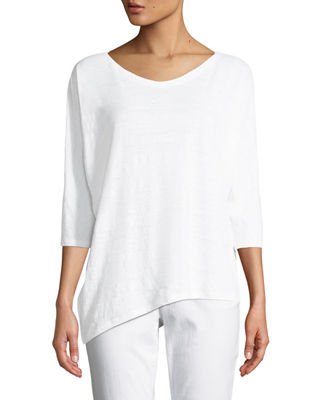 Eileen Fisher Organic Linen Jersey Top, Plus Size