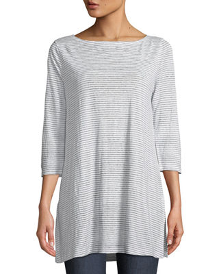 Eileen Fisher Mini-Stripe Organic Linen Jersey Tunic Tee