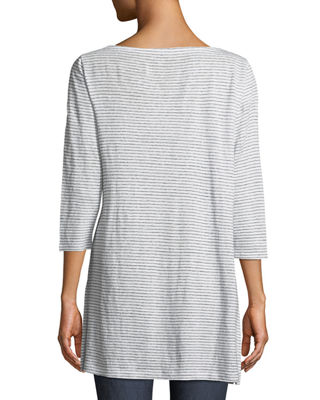 Image 2 of 3: Mini-Stripe Organic Linen Jersey Tunic Tee, Plus Size
