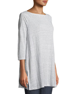 Image 3 of 3: Mini-Stripe Organic Linen Jersey Tunic Tee, Plus Size
